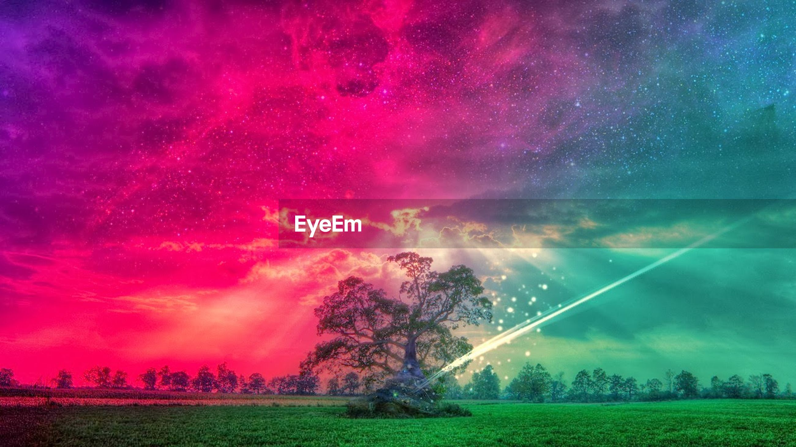 sky, cloud - sky, beauty in nature, scenics, field, tree, dramatic sky, nature, cloudy, tranquil scene, tranquility, landscape, idyllic, storm cloud, night, grass, outdoors, cloud, rainbow, weather