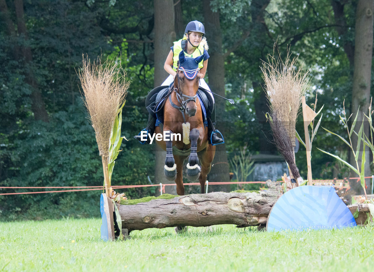 Rider with horse jumping over log on field