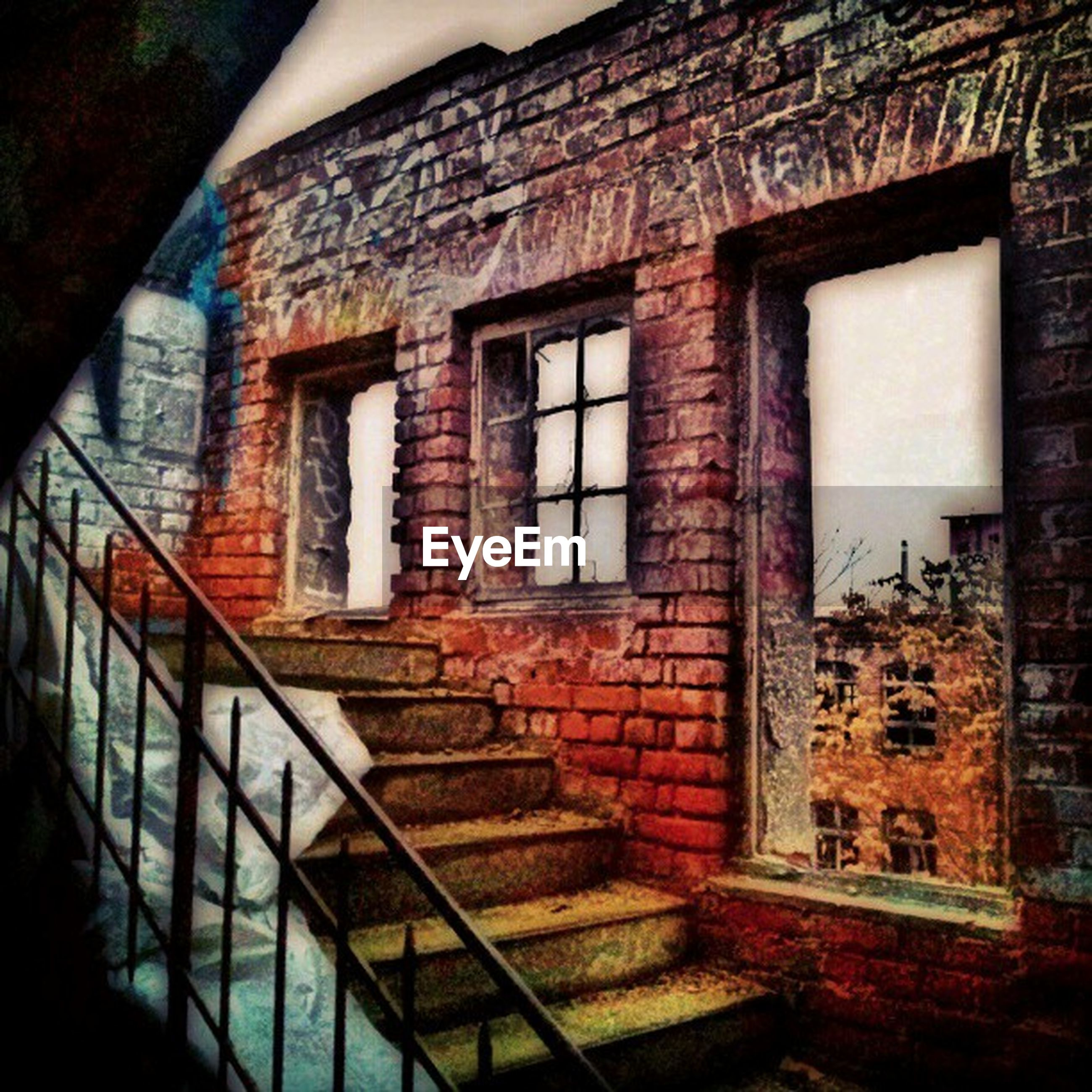 architecture, built structure, building exterior, window, house, building, brick wall, wall - building feature, residential structure, residential building, wall, old, low angle view, day, indoors, no people, red, door, abandoned