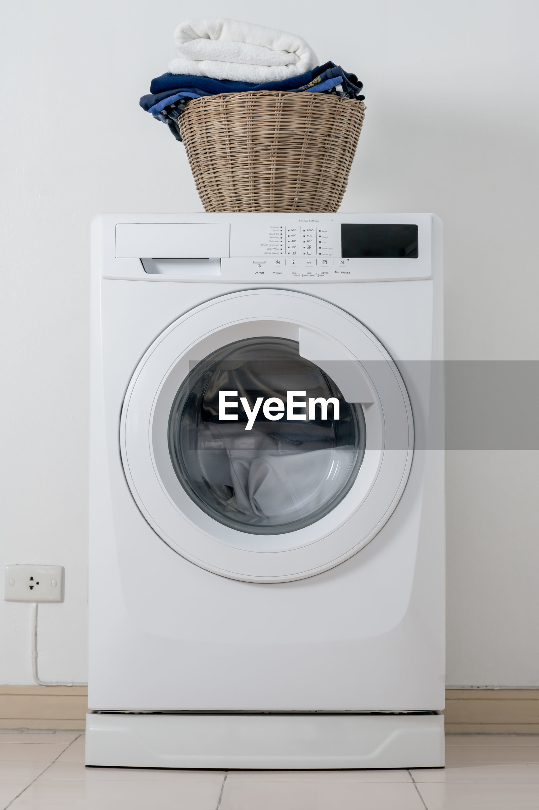 Basket over washing machine at home