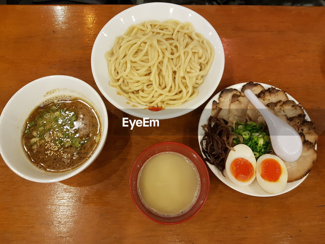 food and drink, bowl, food, table, ready-to-eat, freshness, indoors, serving size, noodles, still life, soup, no people, healthy eating, noodle soup, plate, high angle view, indulgence, meal, soup bowl, close-up, egg yolk, day