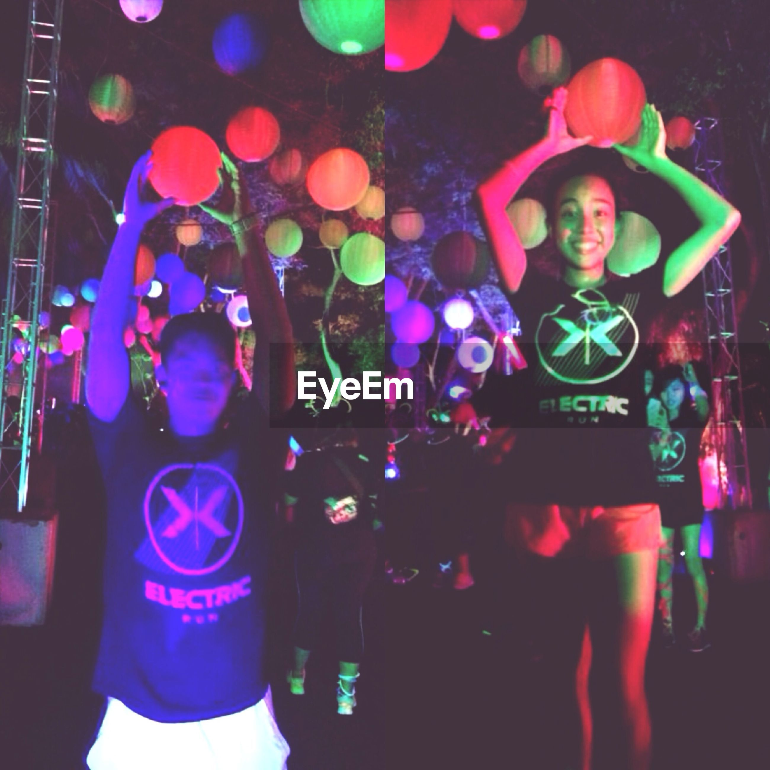 indoors, lifestyles, leisure activity, men, arts culture and entertainment, music, illuminated, nightlife, multi colored, high angle view, person, close-up, celebration, unrecognizable person, nightclub, standing, enjoyment, night