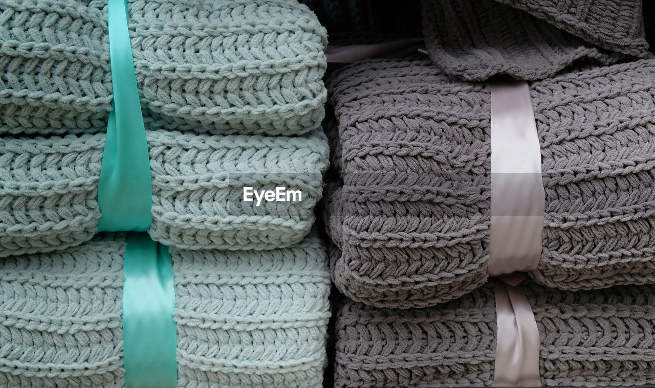 Full frame shot of stacked sweaters