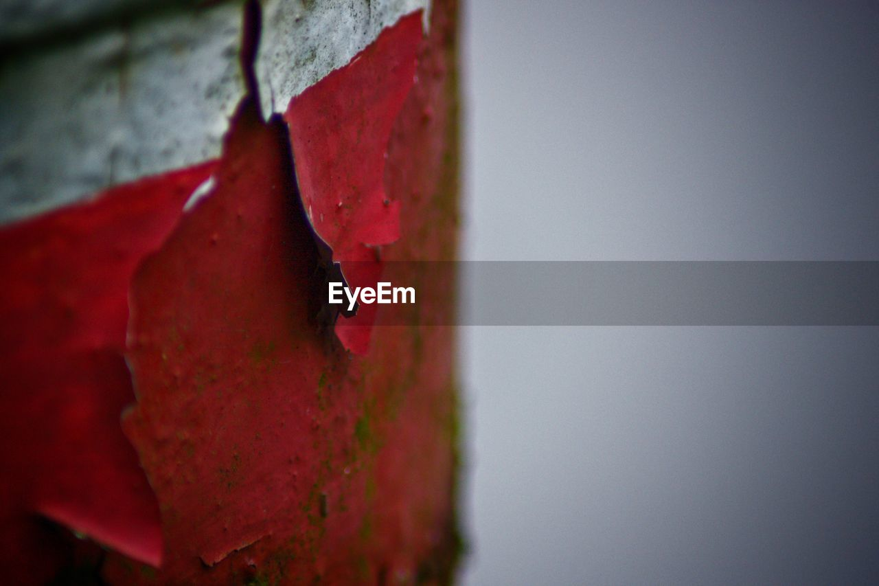 red, close-up, no people, day, metal, focus on foreground, wall - building feature, outdoors, weathered, damaged, nature, rusty, copy space, built structure, sky, old, selective focus, architecture, textured, wood - material