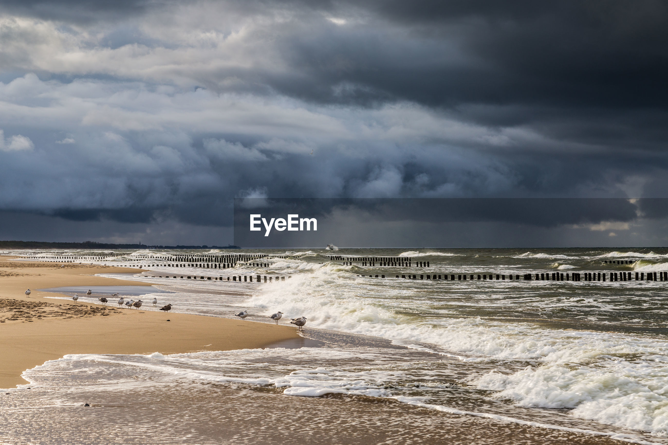 Scenic view of beach against sky. baltic sea. poland
