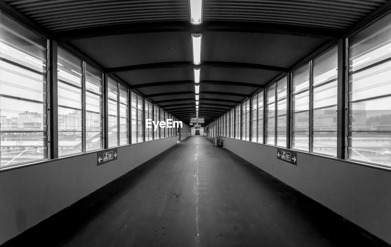 Empty illuminated elevated walkway