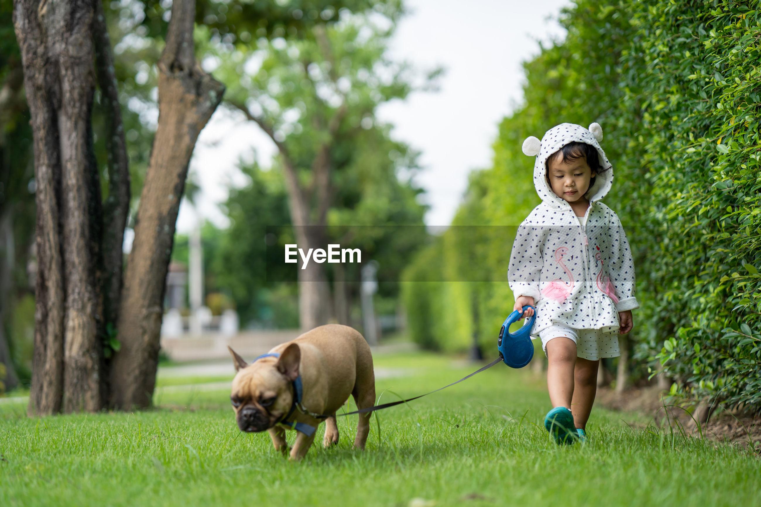 Girl walking with dog at park