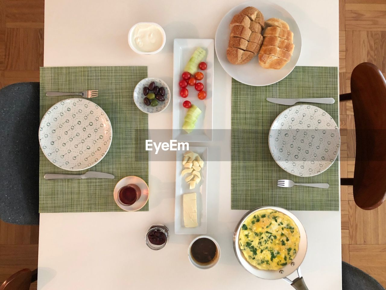 table, food and drink, food, directly above, indoors, still life, freshness, healthy eating, kitchen utensil, drink, bowl, household equipment, plate, ready-to-eat, wellbeing, eating utensil, no people, breakfast, meal, refreshment, place mat