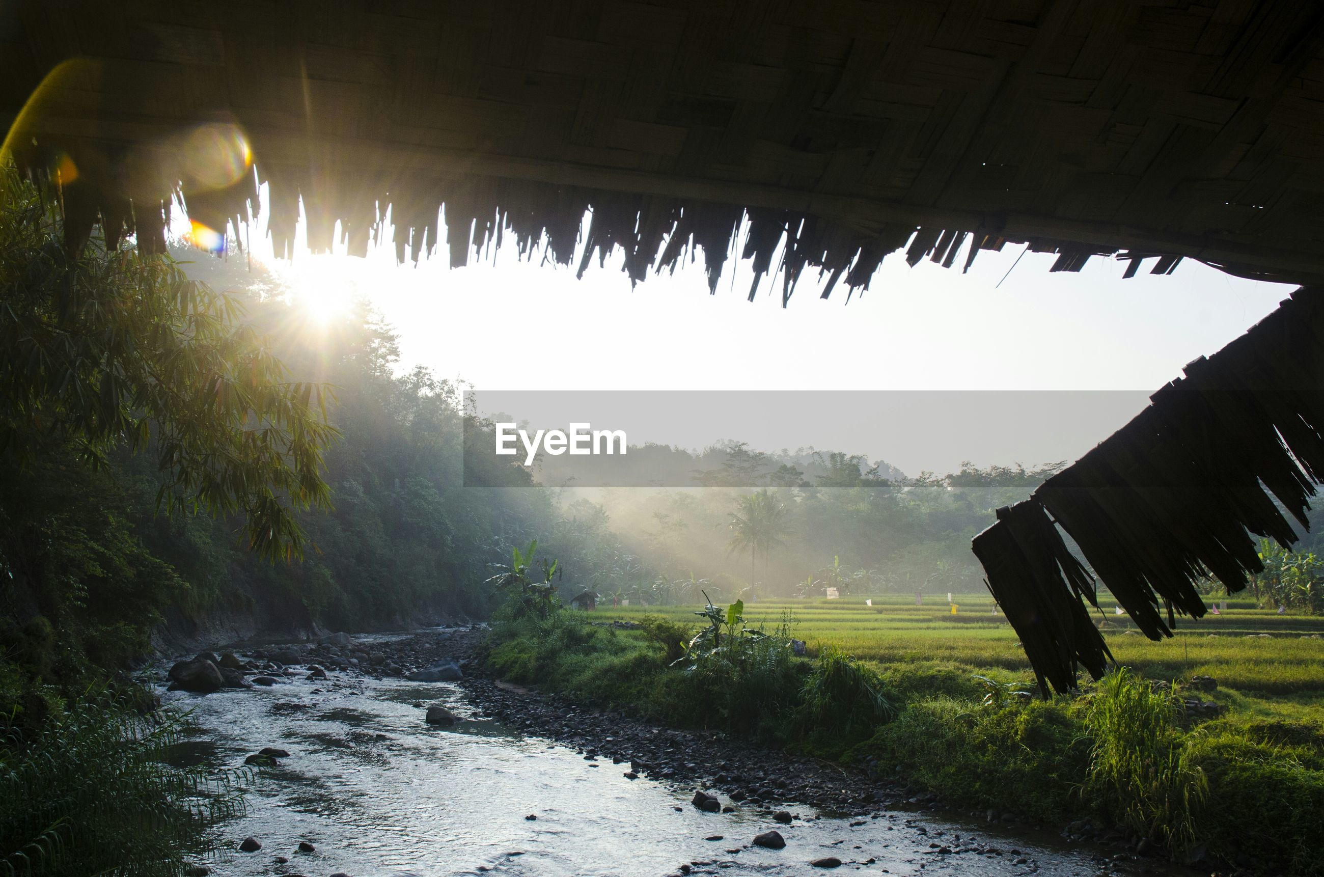River stream by field against sky