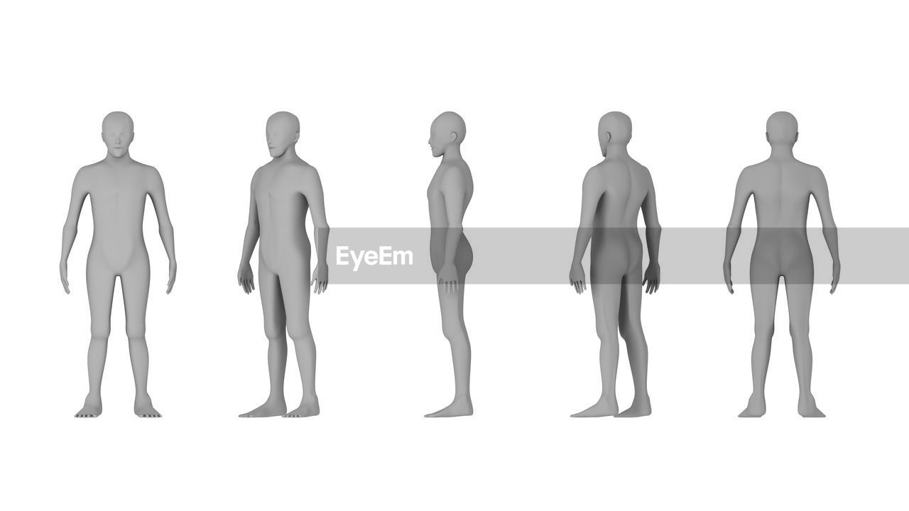 Close-up of mannequins against white background