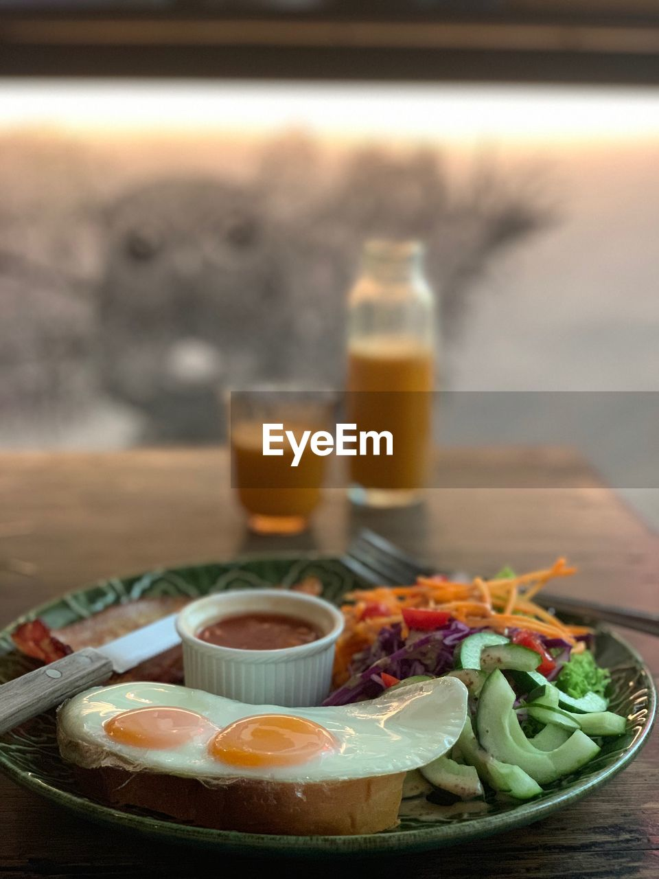 food and drink, food, healthy eating, freshness, table, wellbeing, indoors, no people, plate, drink, ready-to-eat, still life, focus on foreground, close-up, serving size, refreshment, egg, vegetable, meal, selective focus, glass, breakfast