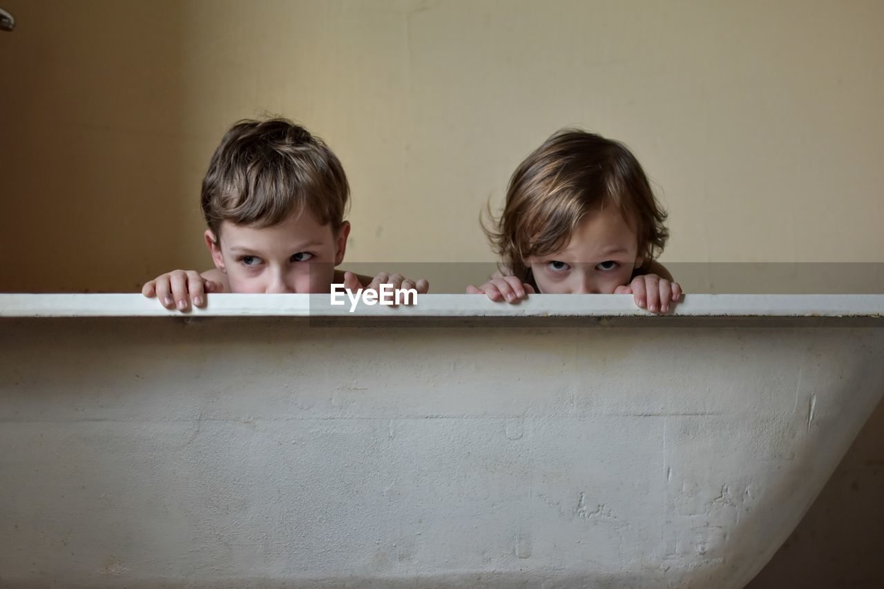 Brothers In Bathtub At Home