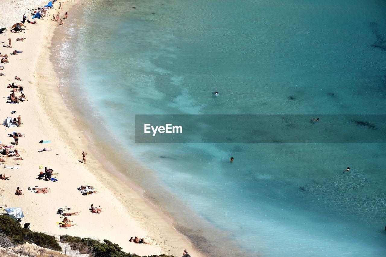 Aerial View Of People Enjoying At Kedros Beach