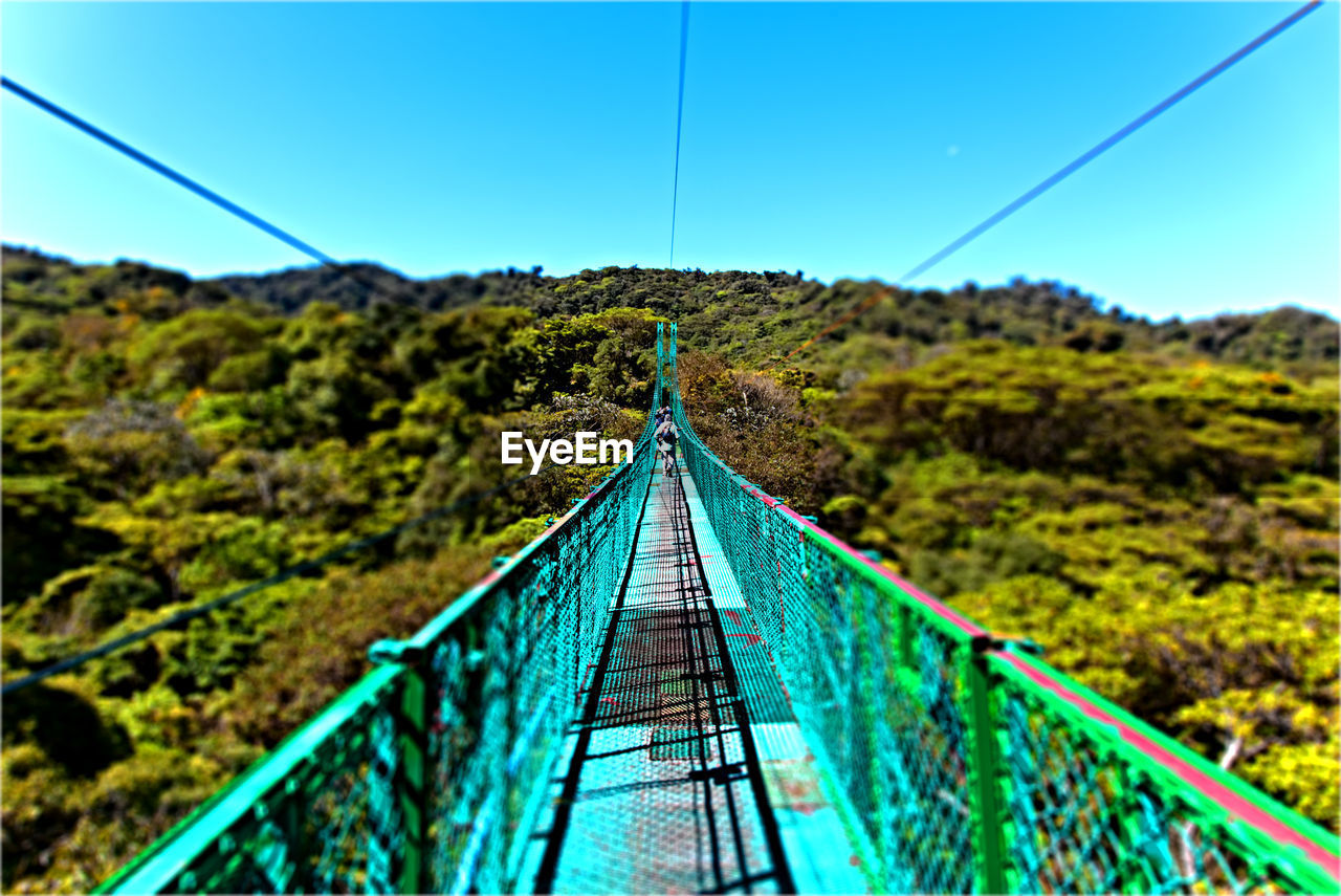 rope bridge, railing, the way forward, footbridge, day, outdoors, clear sky, beauty in nature, bridge - man made structure, blue, nature, no people, scenics, tree, sky