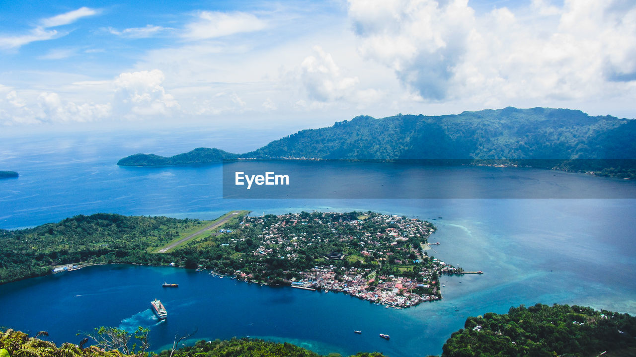 water, cloud - sky, scenics - nature, sea, sky, tranquil scene, beauty in nature, tranquility, nature, day, no people, aerial view, idyllic, mountain, blue, land, high angle view, outdoors, coastline, bay, turquoise colored