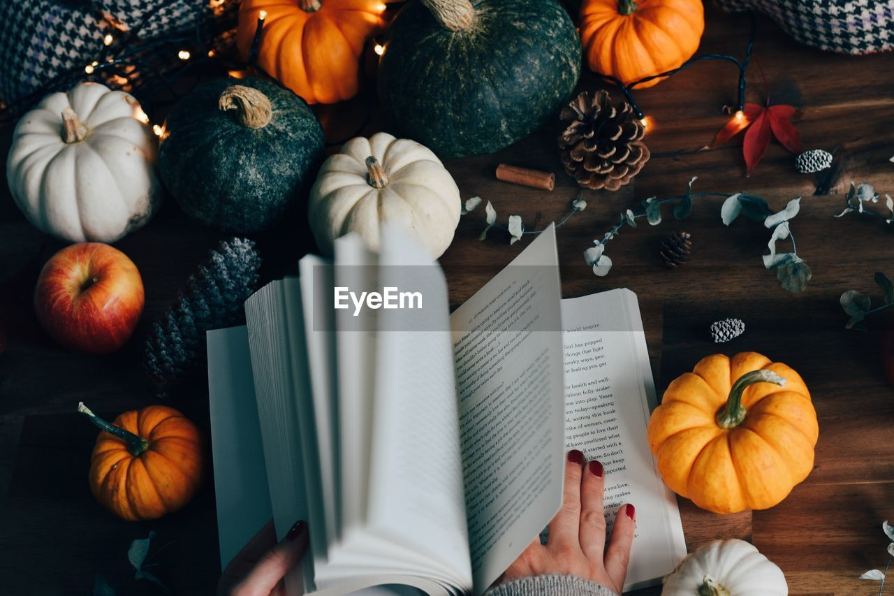 High angle view of pumpkins and book on table