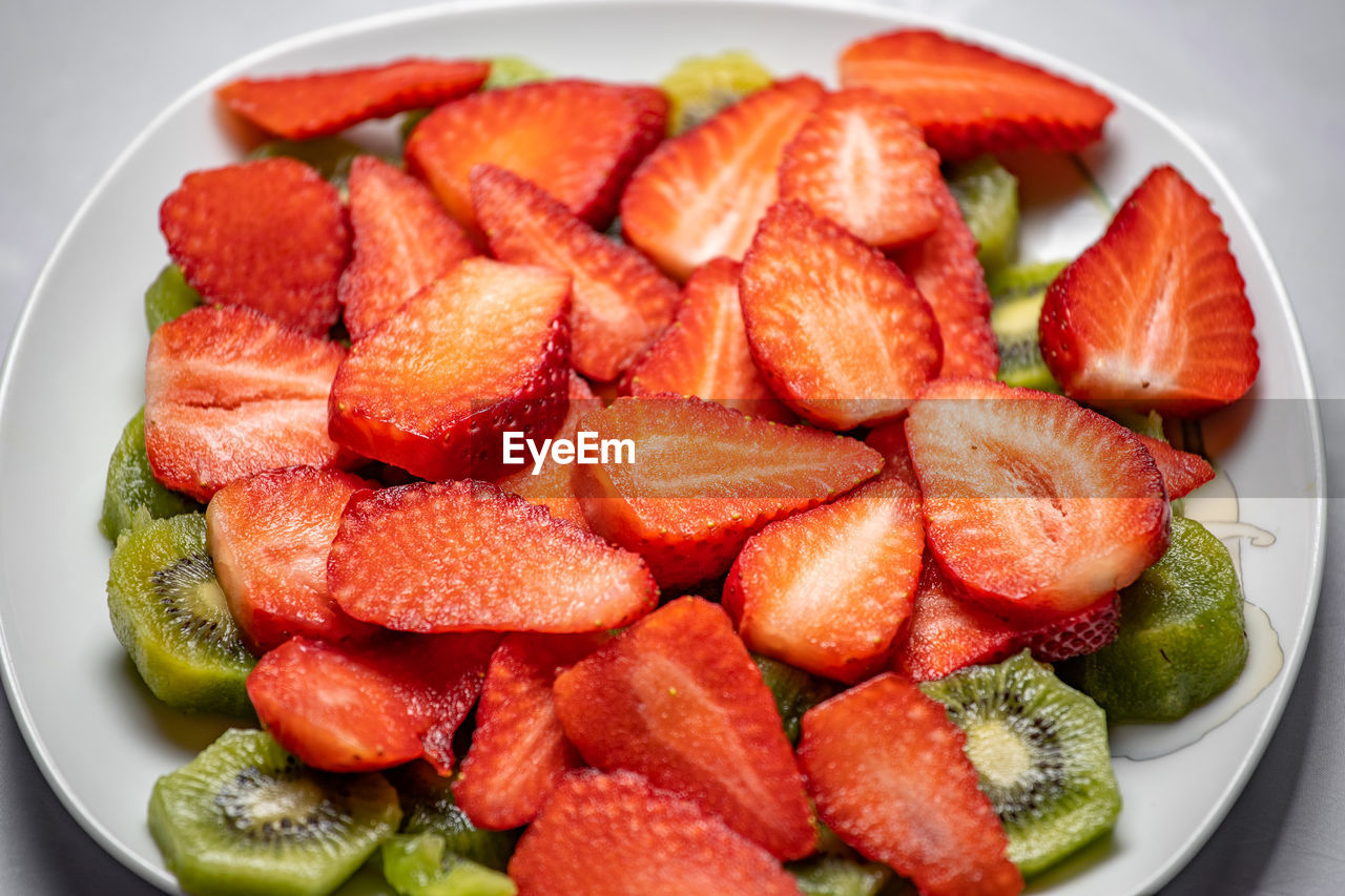 food and drink, food, healthy eating, wellbeing, fruit, red, freshness, plate, still life, indoors, close-up, berry fruit, strawberry, high angle view, slice, no people, bowl, ready-to-eat, vegetable, chopped