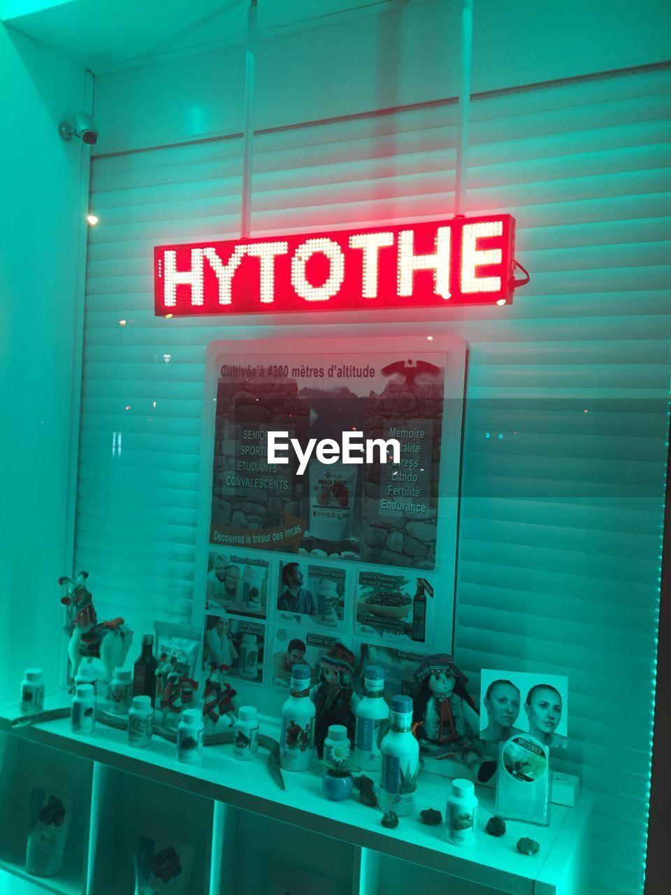 text, illuminated, communication, indoors, neon, no people, day