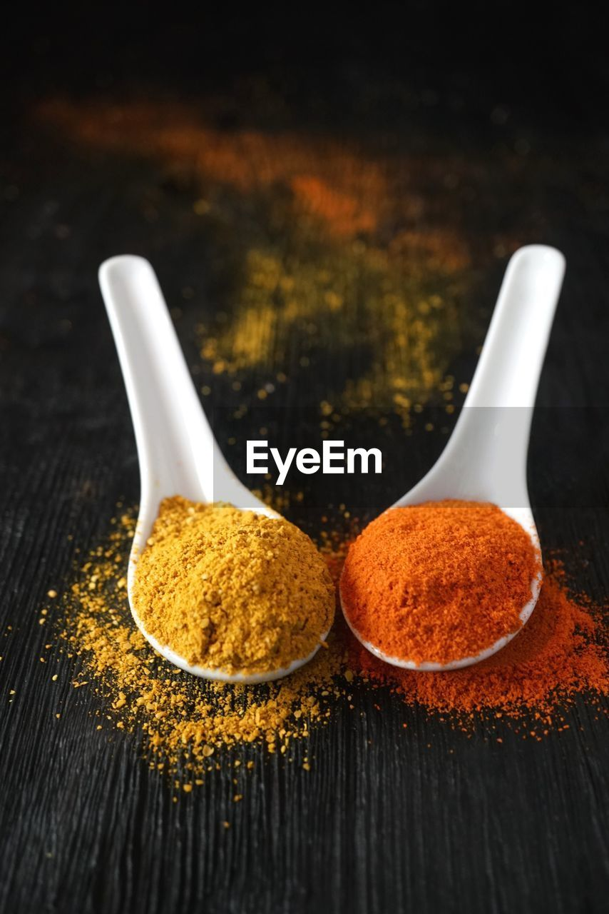 spoon, kitchen utensil, food and drink, eating utensil, food, spice, close-up, still life, wood - material, ground - culinary, freshness, ingredient, indoors, no people, table, seasoning, focus on foreground, multi colored, variation, choice, wooden spoon, herb, paprika