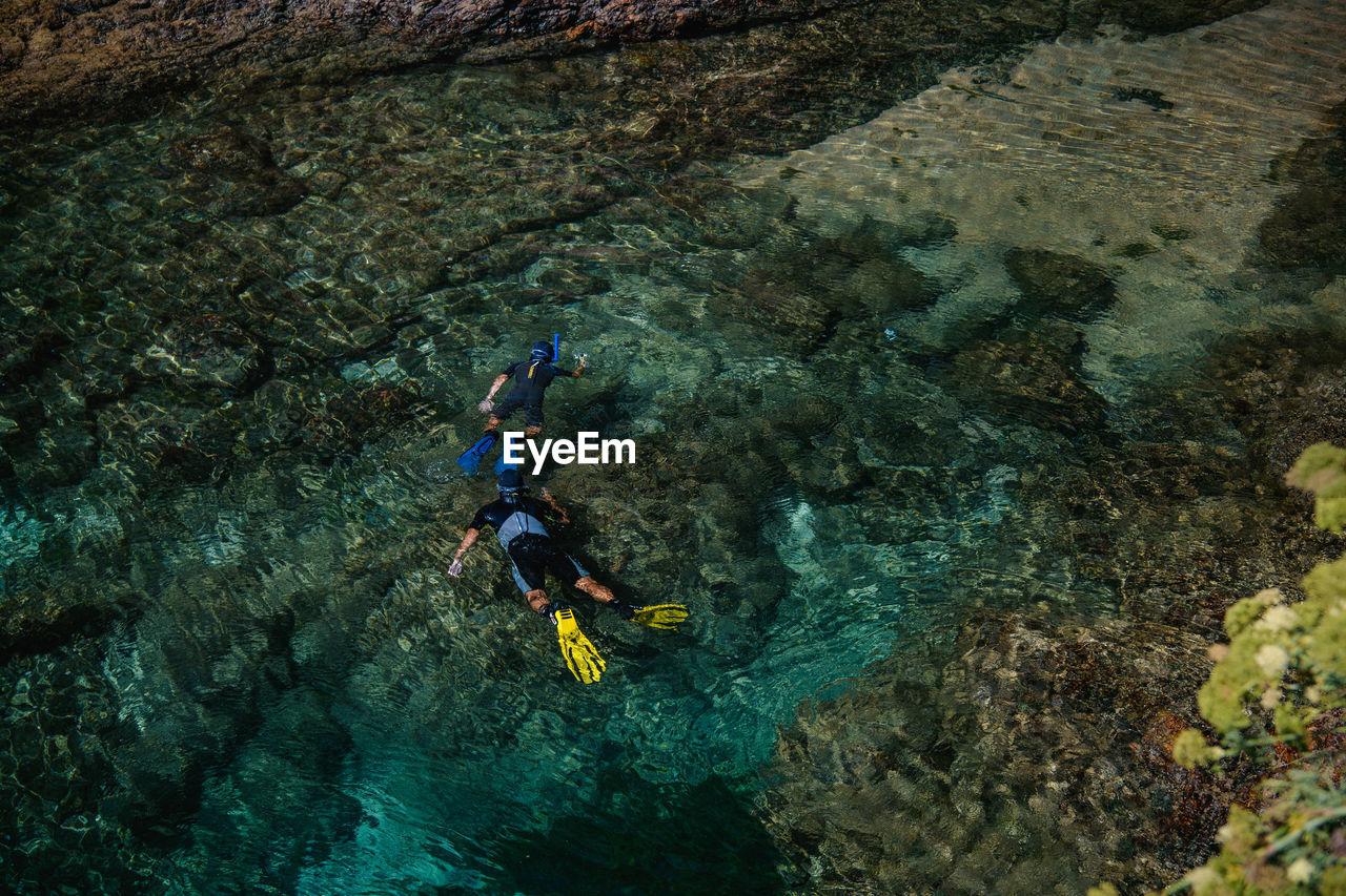 VIEW OF PERSON SWIMMING IN SEA