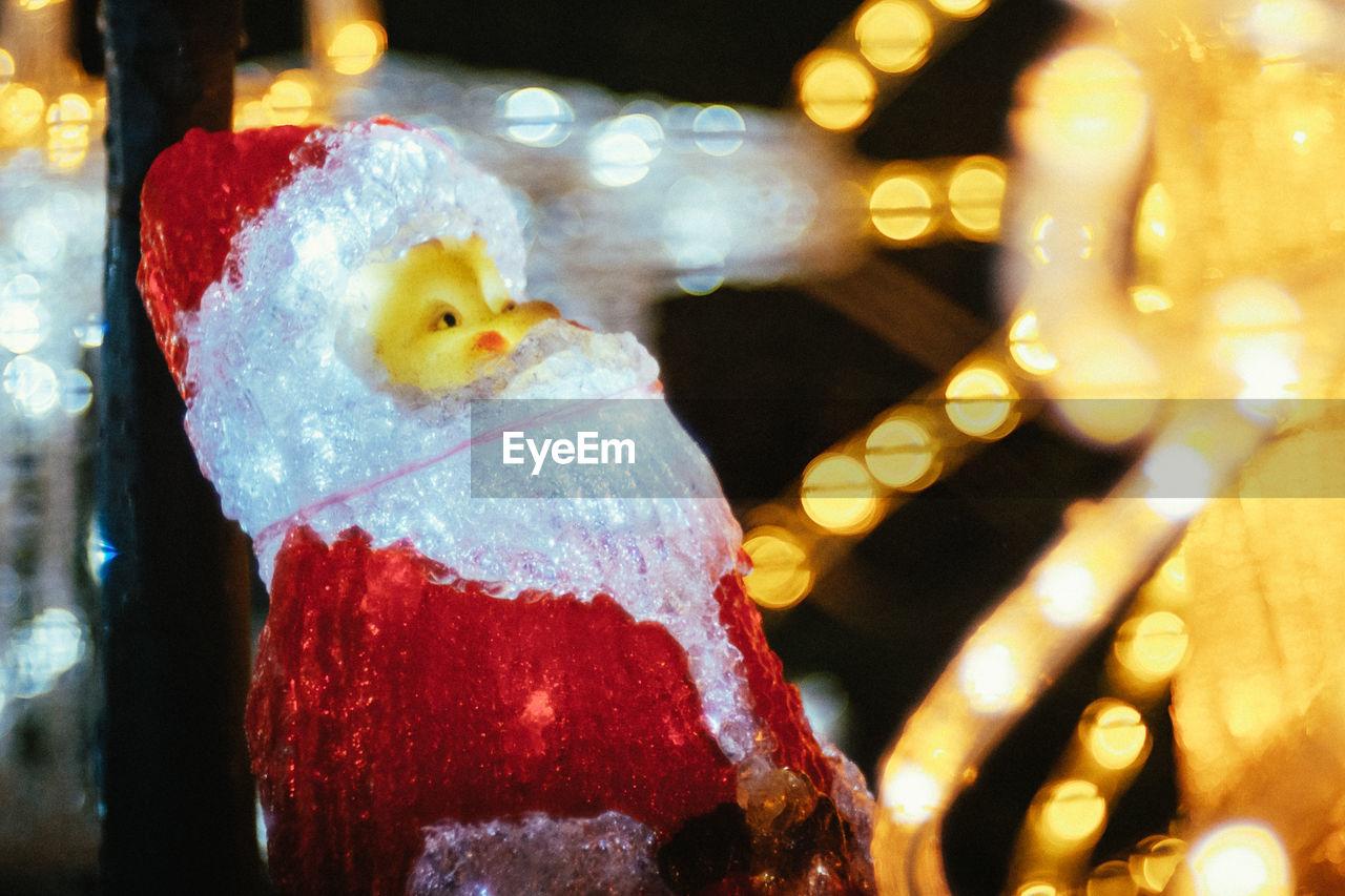 christmas, close-up, celebration, christmas decoration, night, no people, christmas tree, christmas lights, christmas ornament, stuffed toy, snowman, indoors, illuminated, tree