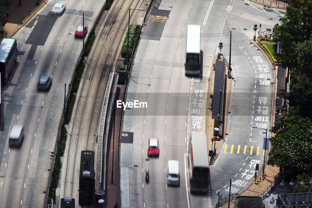 High angle view of vehicles moving on roads