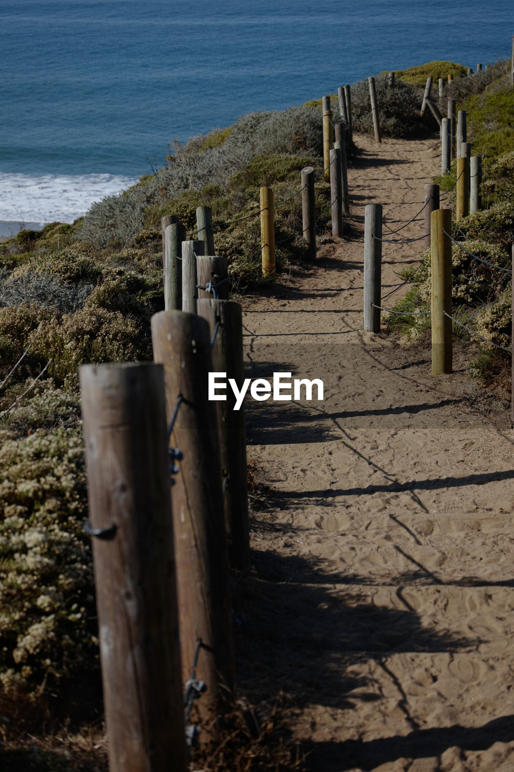 High angle view of wooden posts on beach san francisco