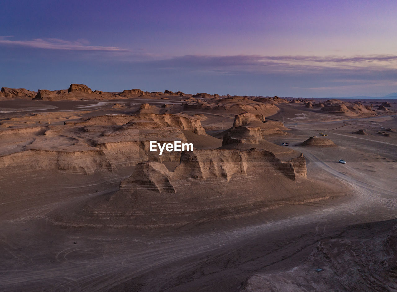 Kalouts in the lut desert after sunset