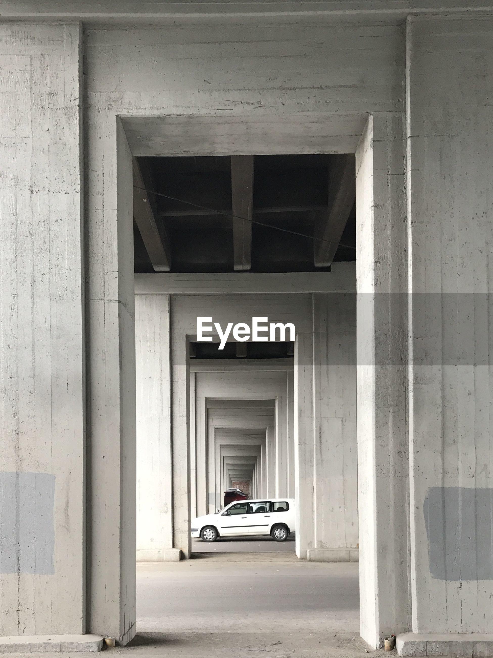 Cars below bridge