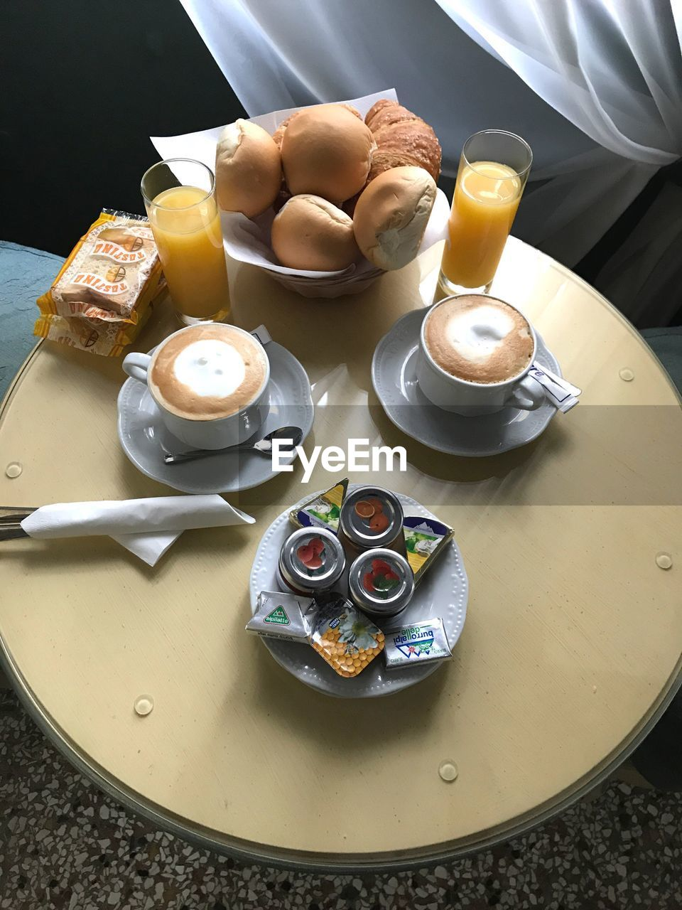 food and drink, food, high angle view, plate, freshness, no people, table, sweet food, indoors, breakfast, temptation, dessert, ready-to-eat, close-up, day