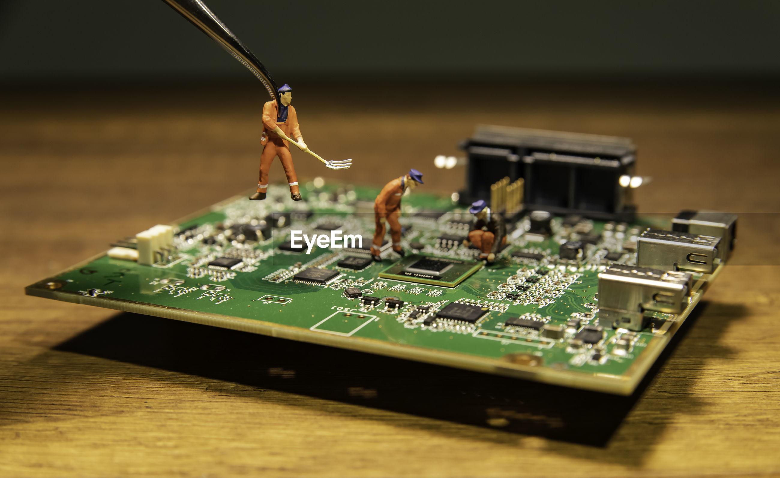 Circuit board on table