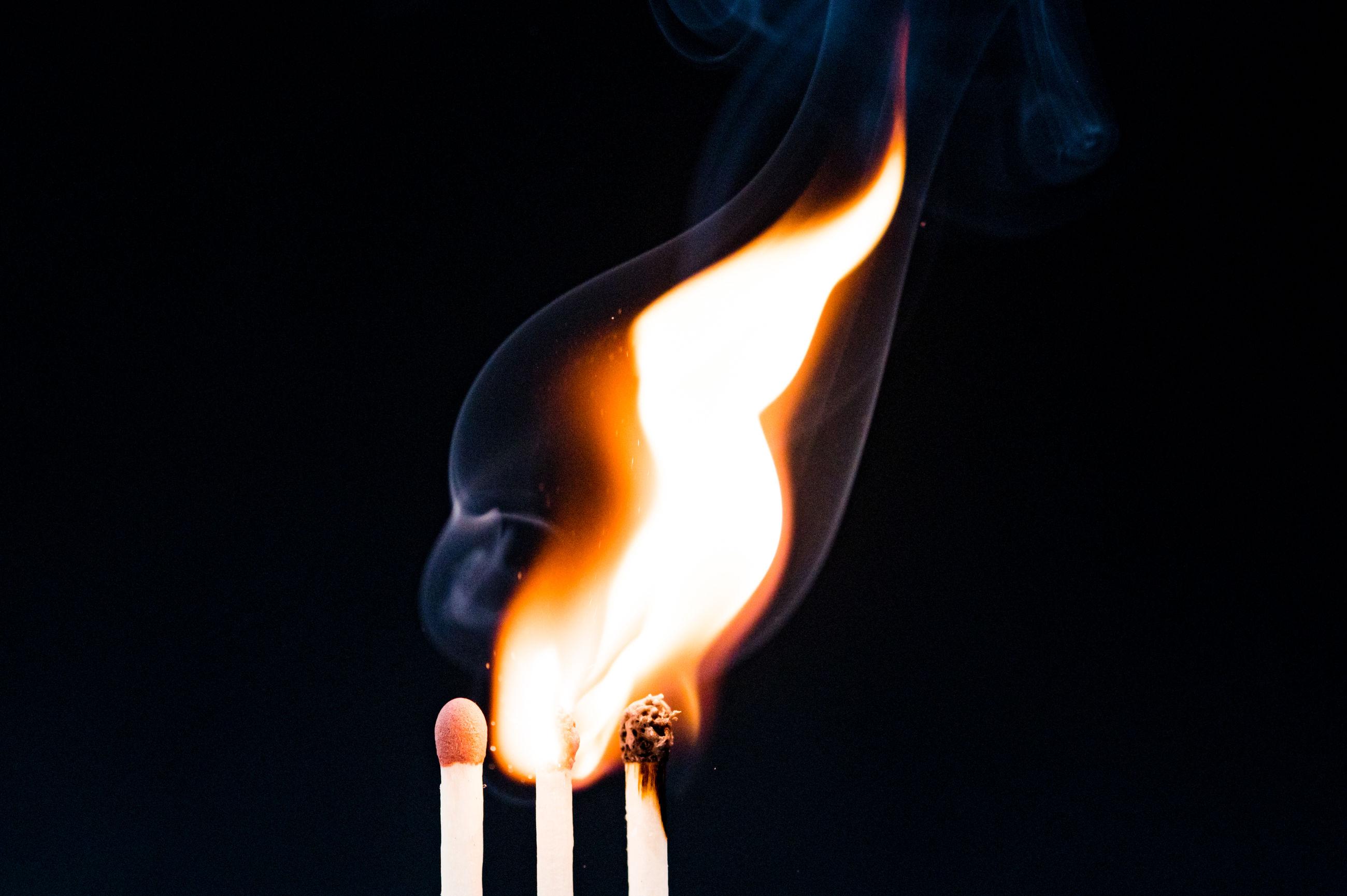 Matchsticks burning