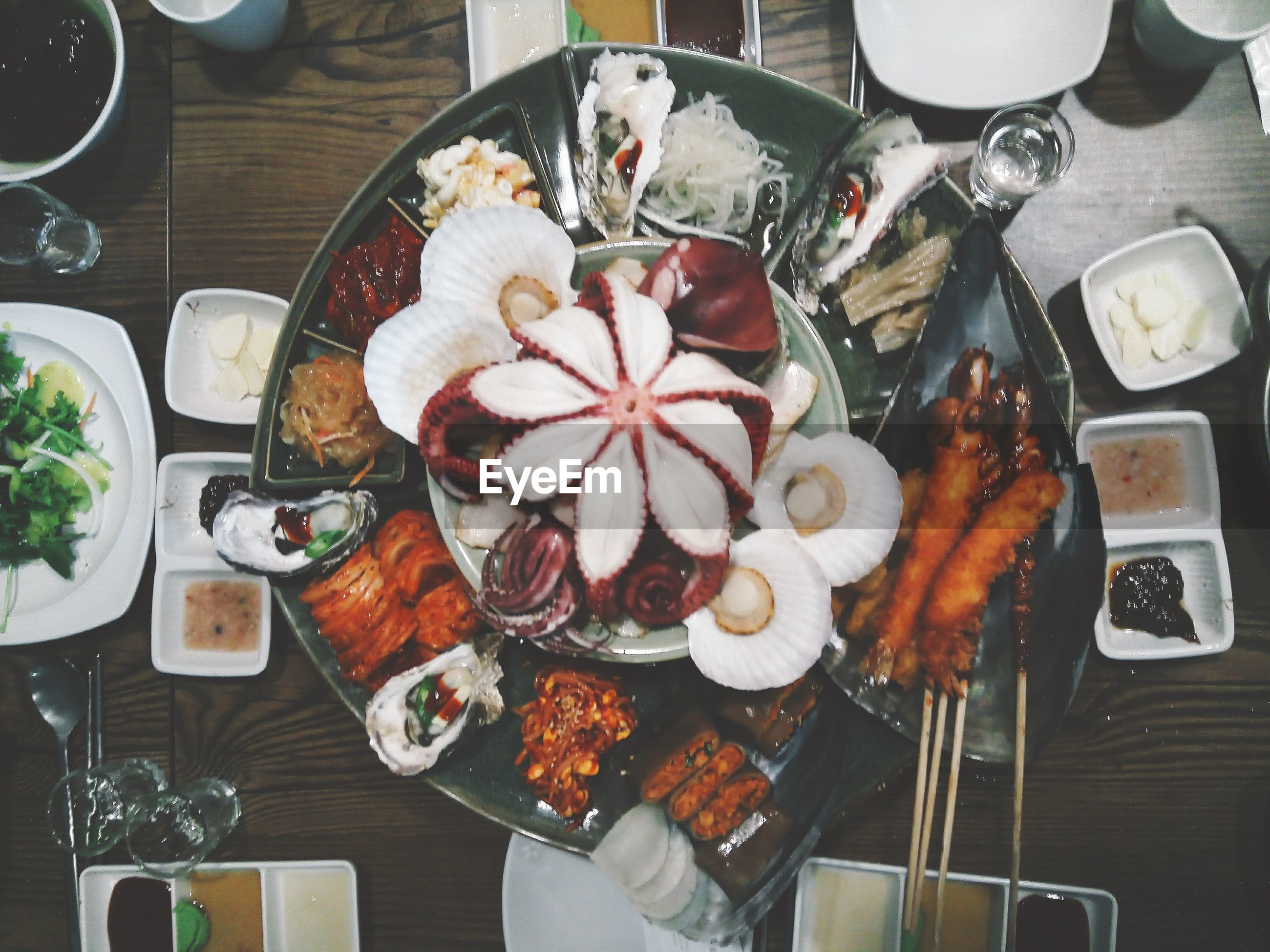 plate, food and drink, food, freshness, directly above, indoors, ready-to-eat, table, high angle view, healthy eating, serving size, bowl, no people, chopsticks, close-up, day