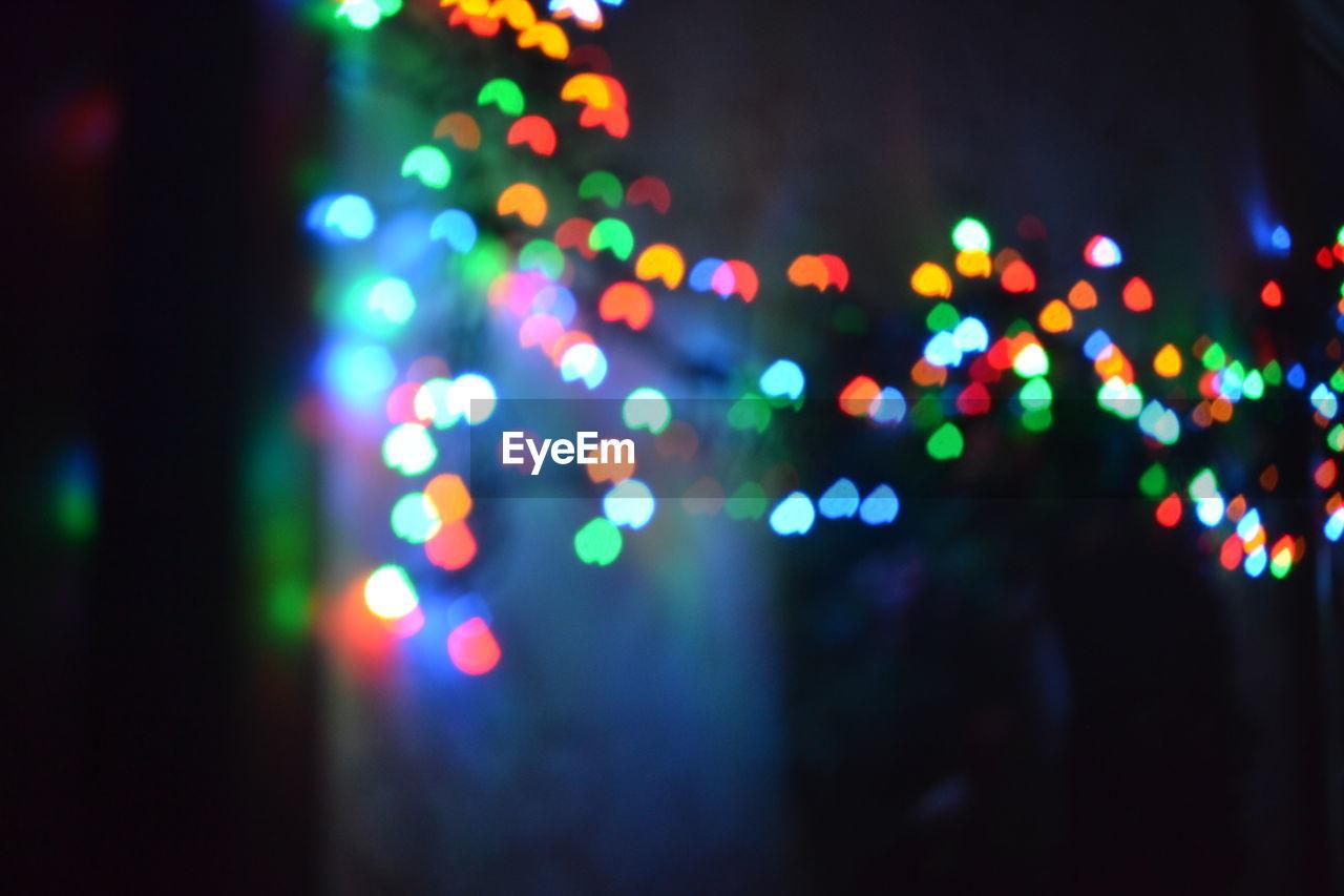 illuminated, night, defocused, multi colored, lighting equipment, no people, close-up, outdoors