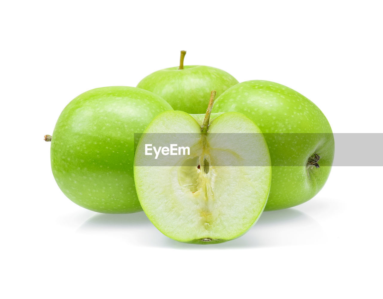 fruit, healthy eating, green color, wellbeing, white background, food and drink, food, apple - fruit, studio shot, still life, freshness, apple, cut out, close-up, indoors, no people, granny smith apple, group of objects, plant stem, slice