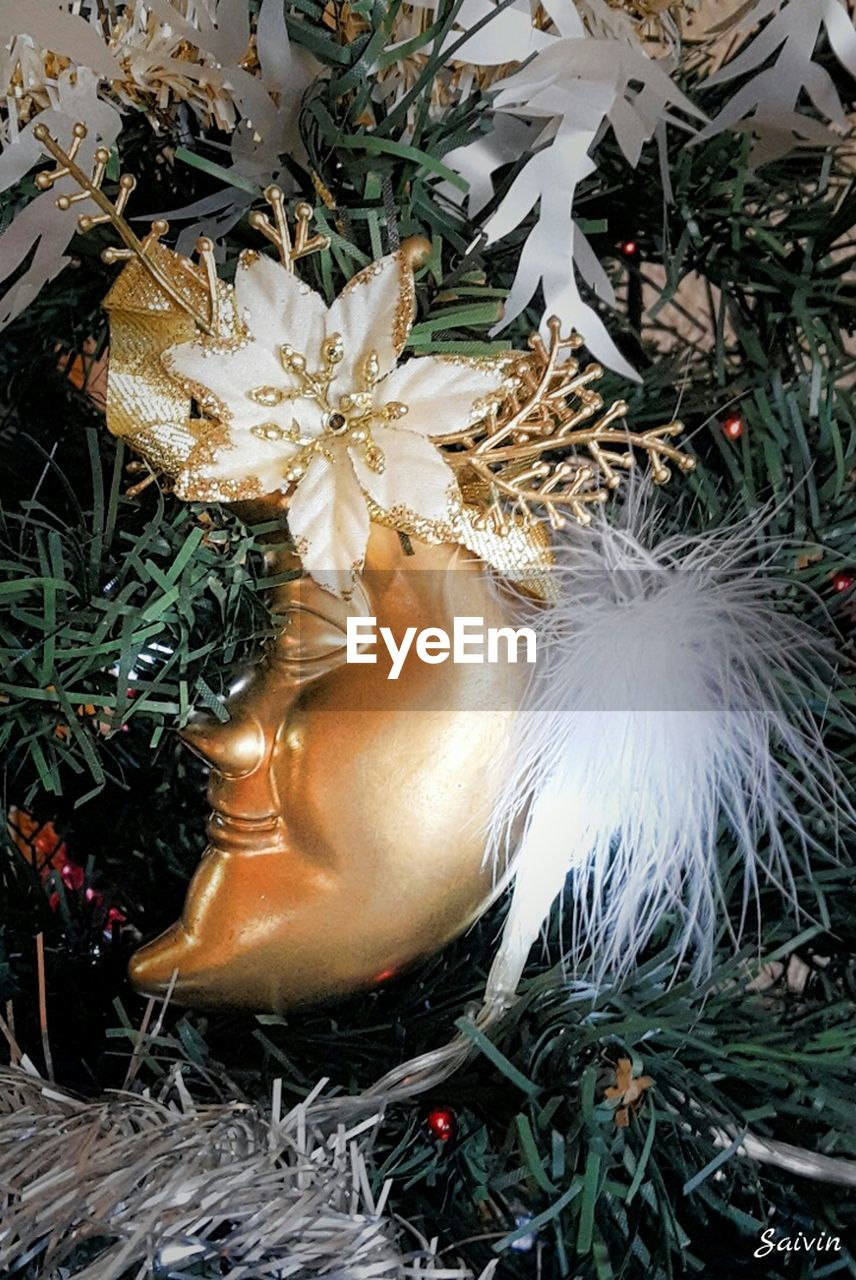 celebration, christmas decoration, close-up, christmas, no people, celebration event, christmas ornament, feather, christmas tree, flower, gold colored, night, fragility, outdoors, nature
