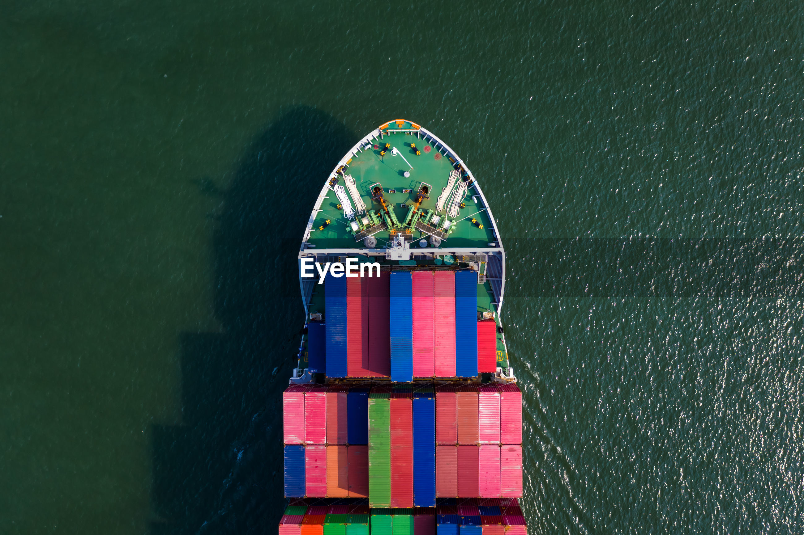 High angle view shipping container sailing on the sea