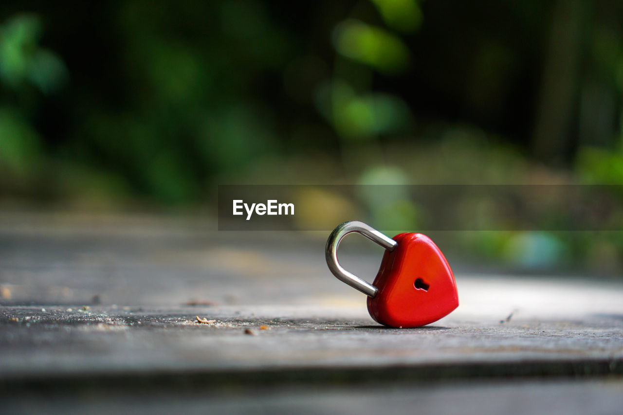selective focus, red, no people, day, metal, wood - material, outdoors, close-up, nature, representation, single object, protection, green color, security, focus on foreground, footpath, front or back yard, lock, safety, railing
