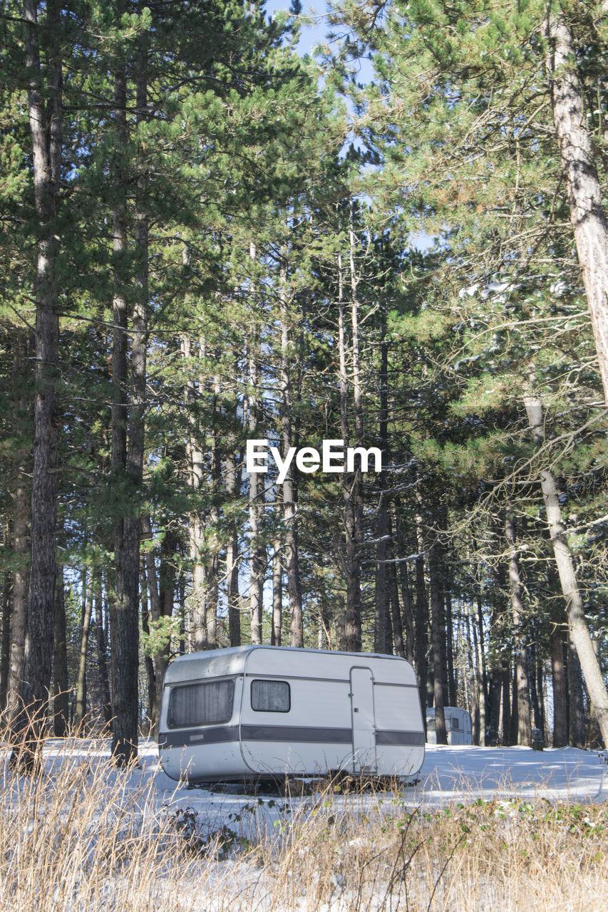Caravan In Forest In Winter