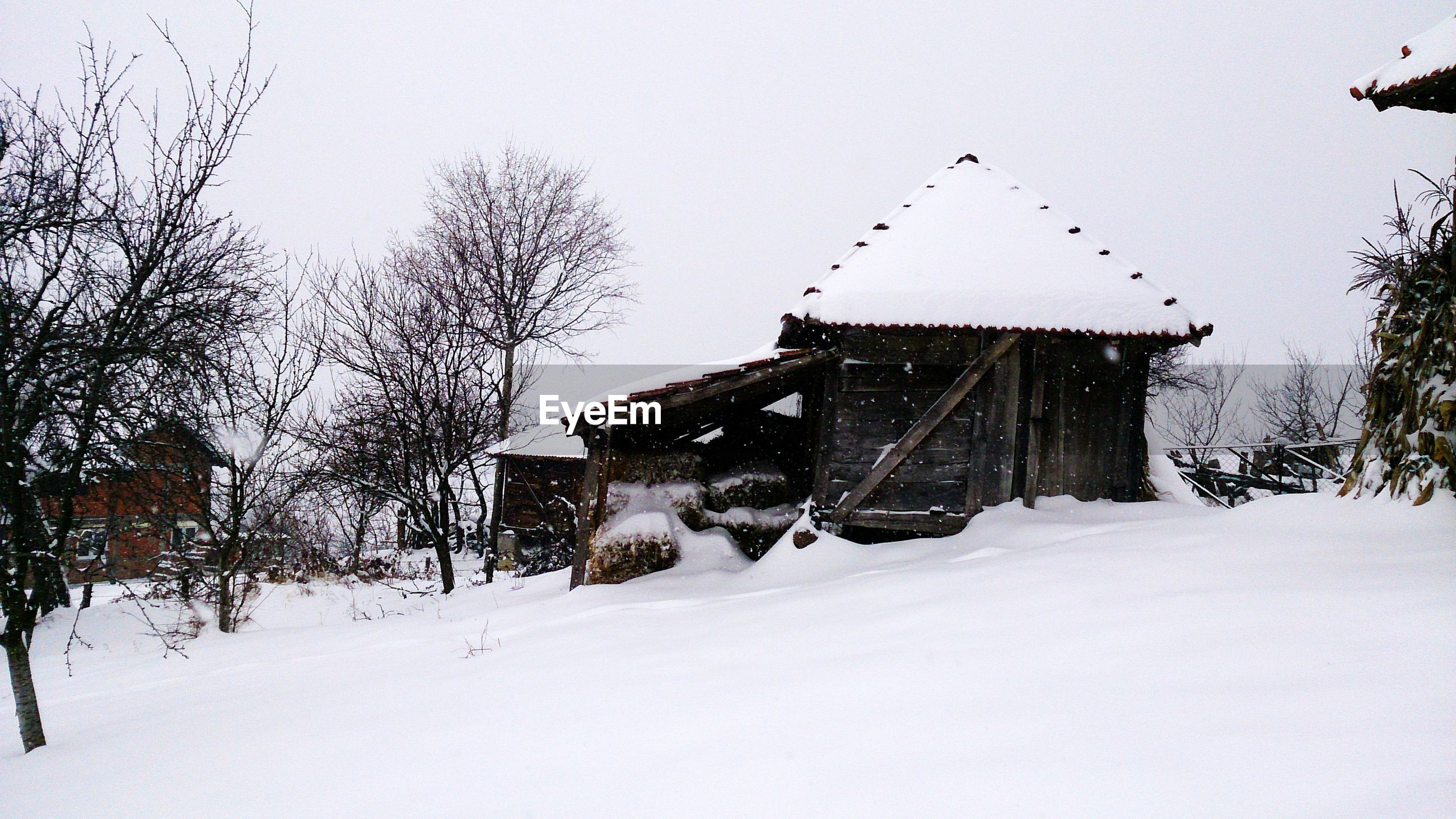 Built structures on snow covered landscape