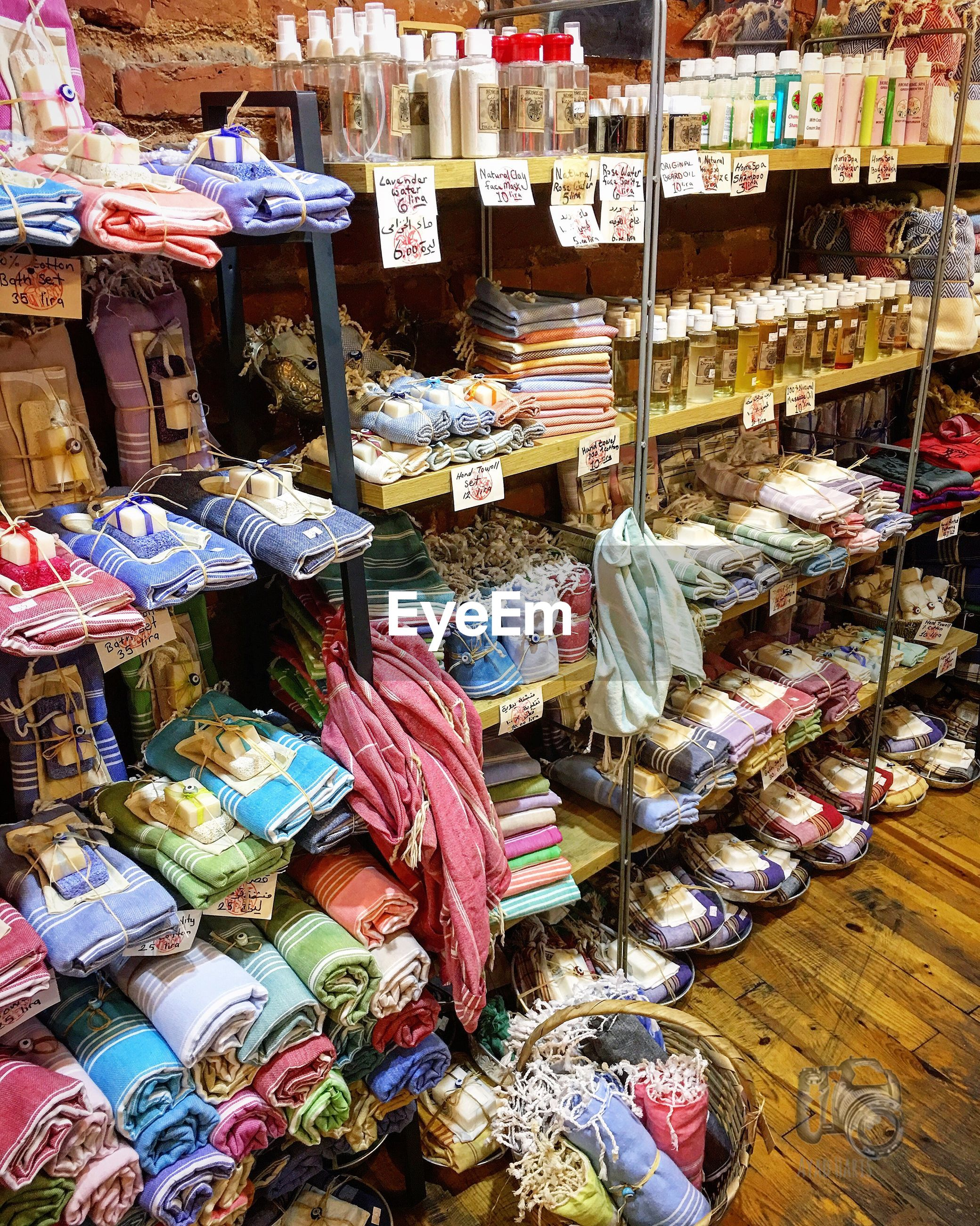 Various objects on shelves for sale in store
