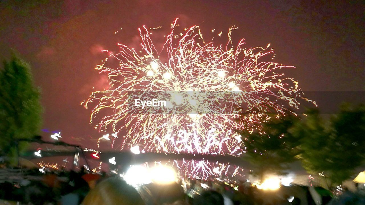 celebration, night, firework display, event, arts culture and entertainment, low angle view, firework - man made object, exploding, illuminated, long exposure, outdoors, sky, motion, no people, multi colored, tree