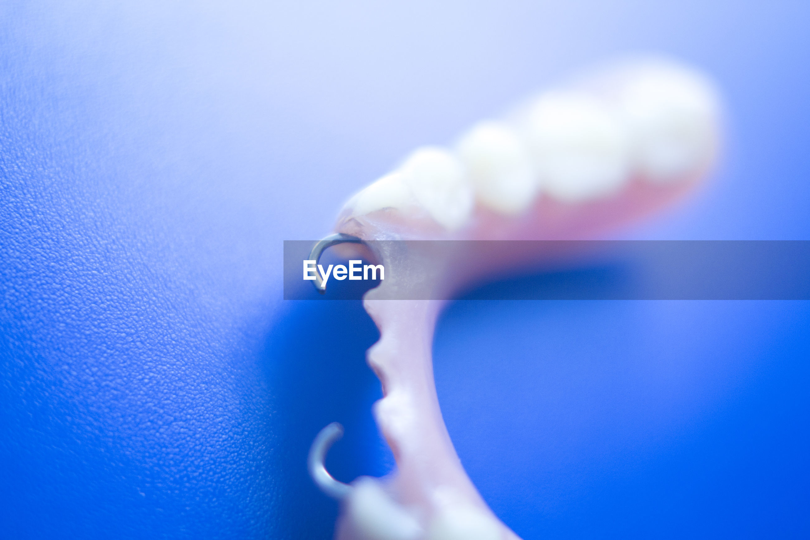 Close-up of dentures against blue background