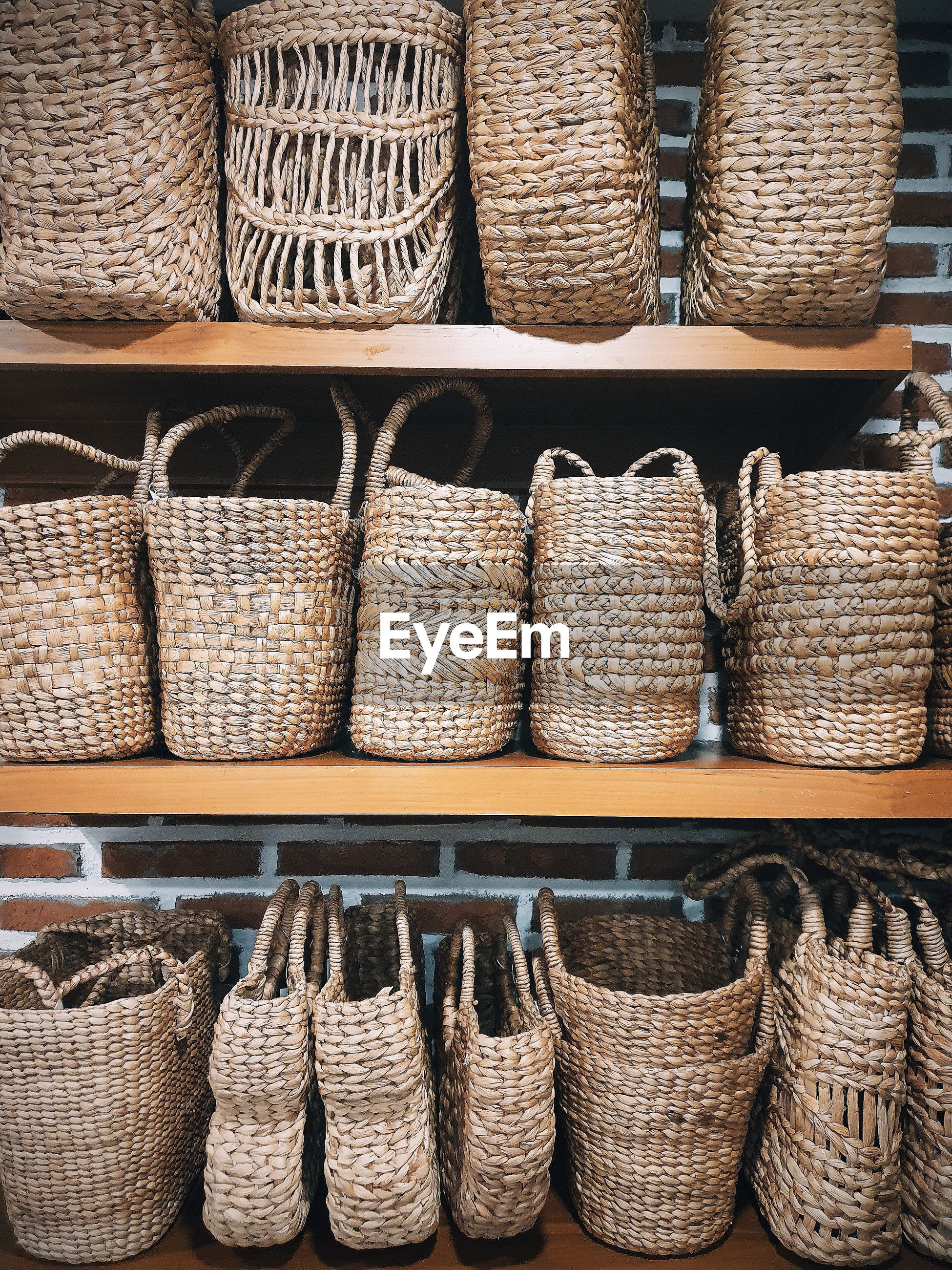 Close-up of wicker basket at store
