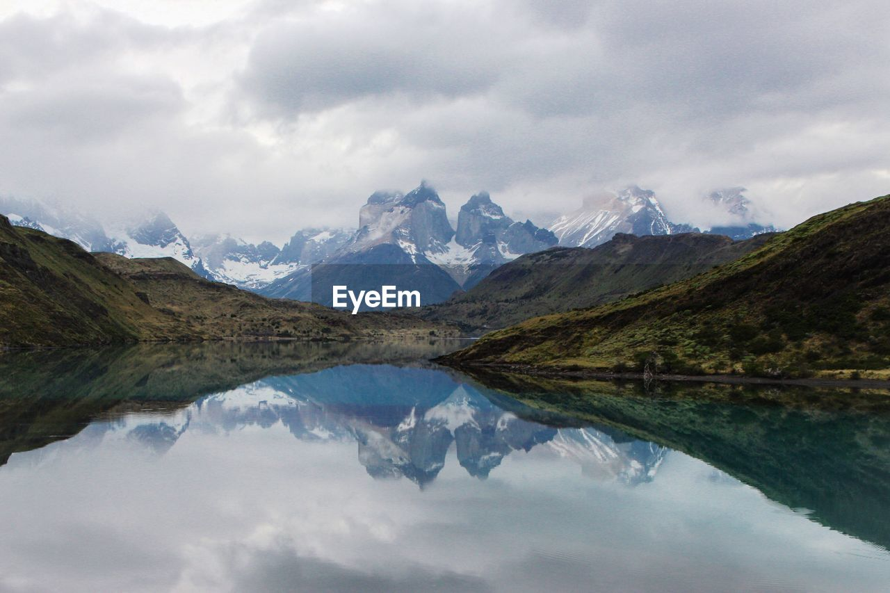 Reflection Of Rocky Mountain In Calm Lake