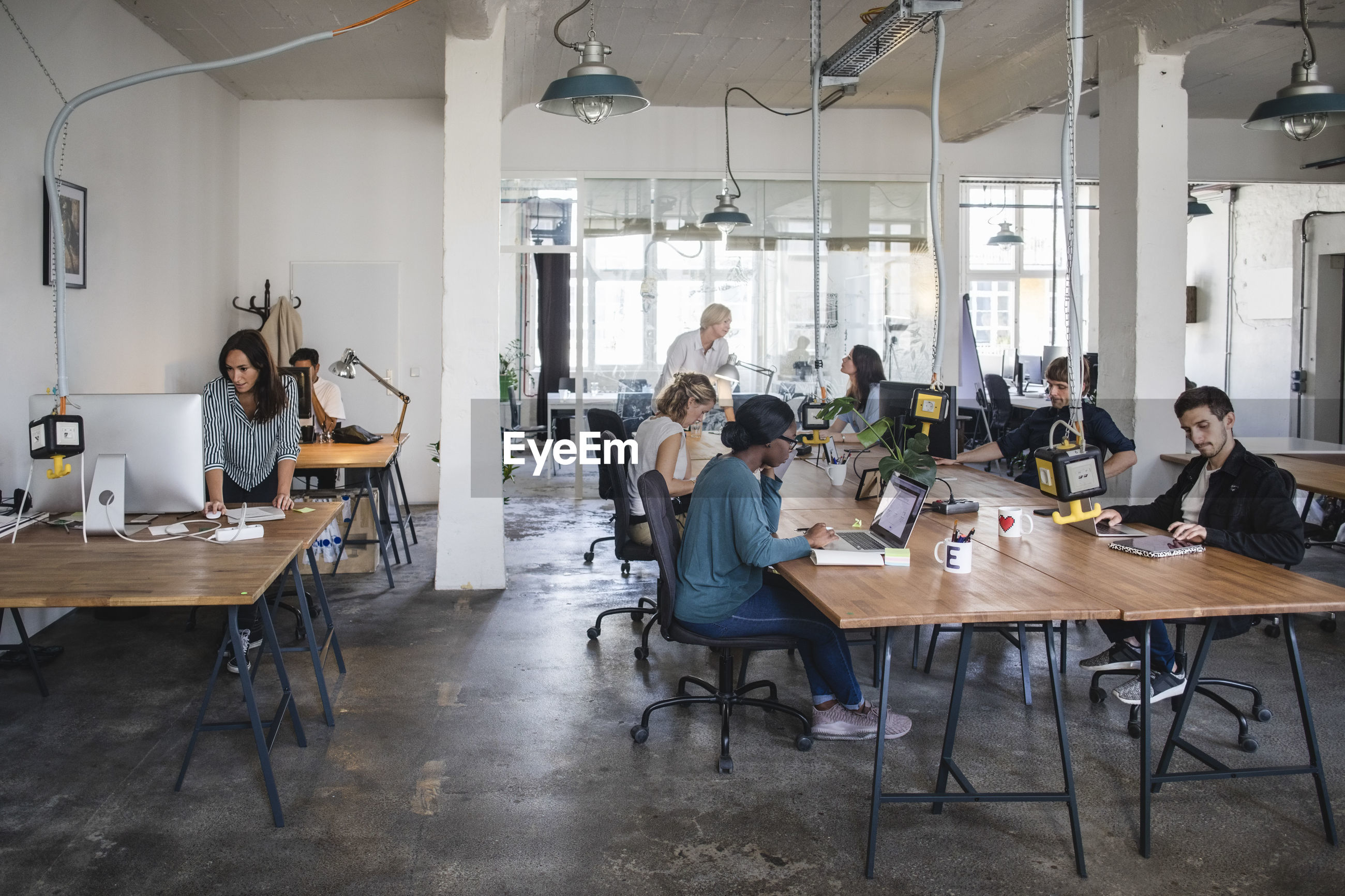 Multi-ethnic business people working at desks in office