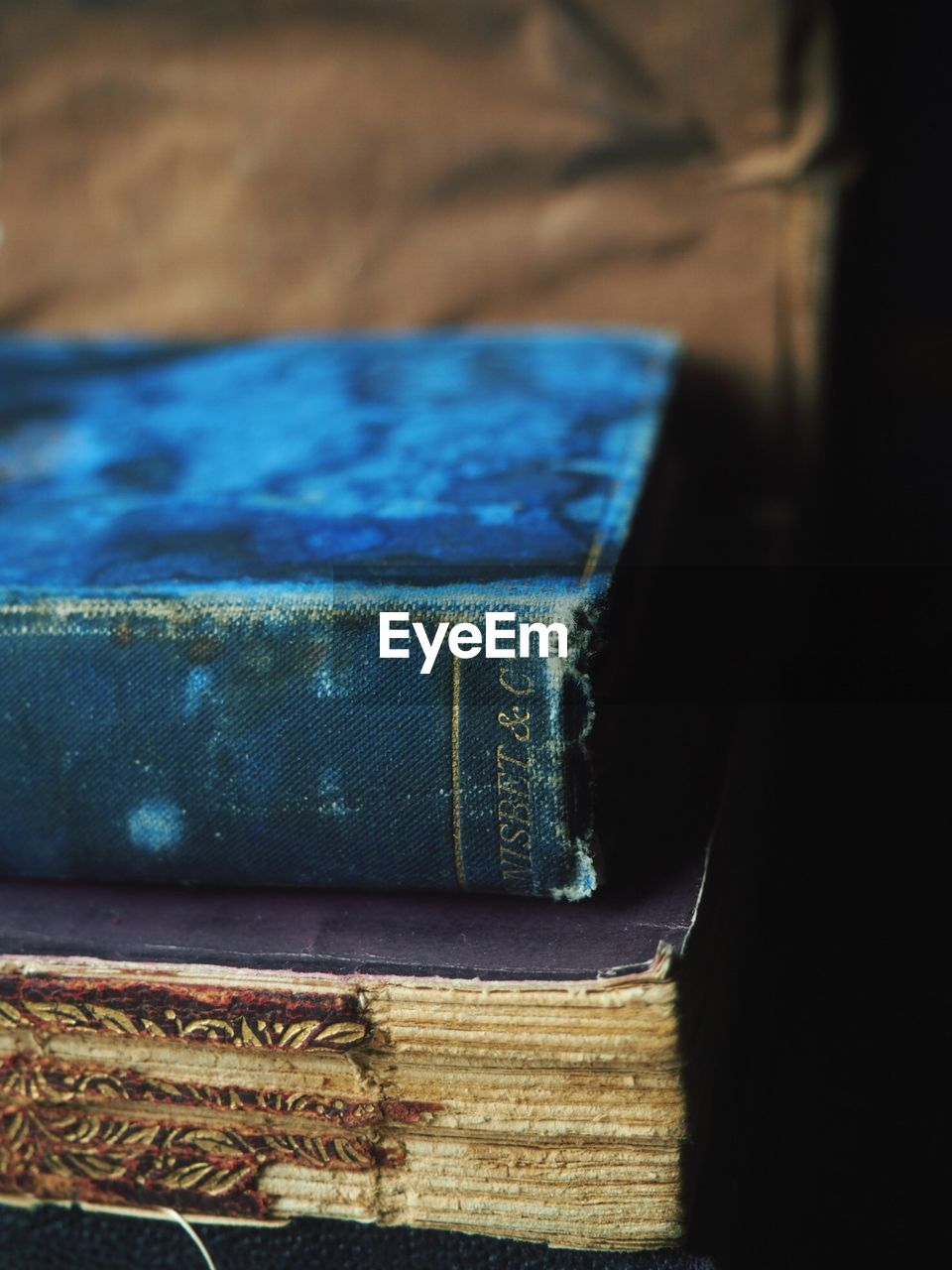 Close-up of old books on table