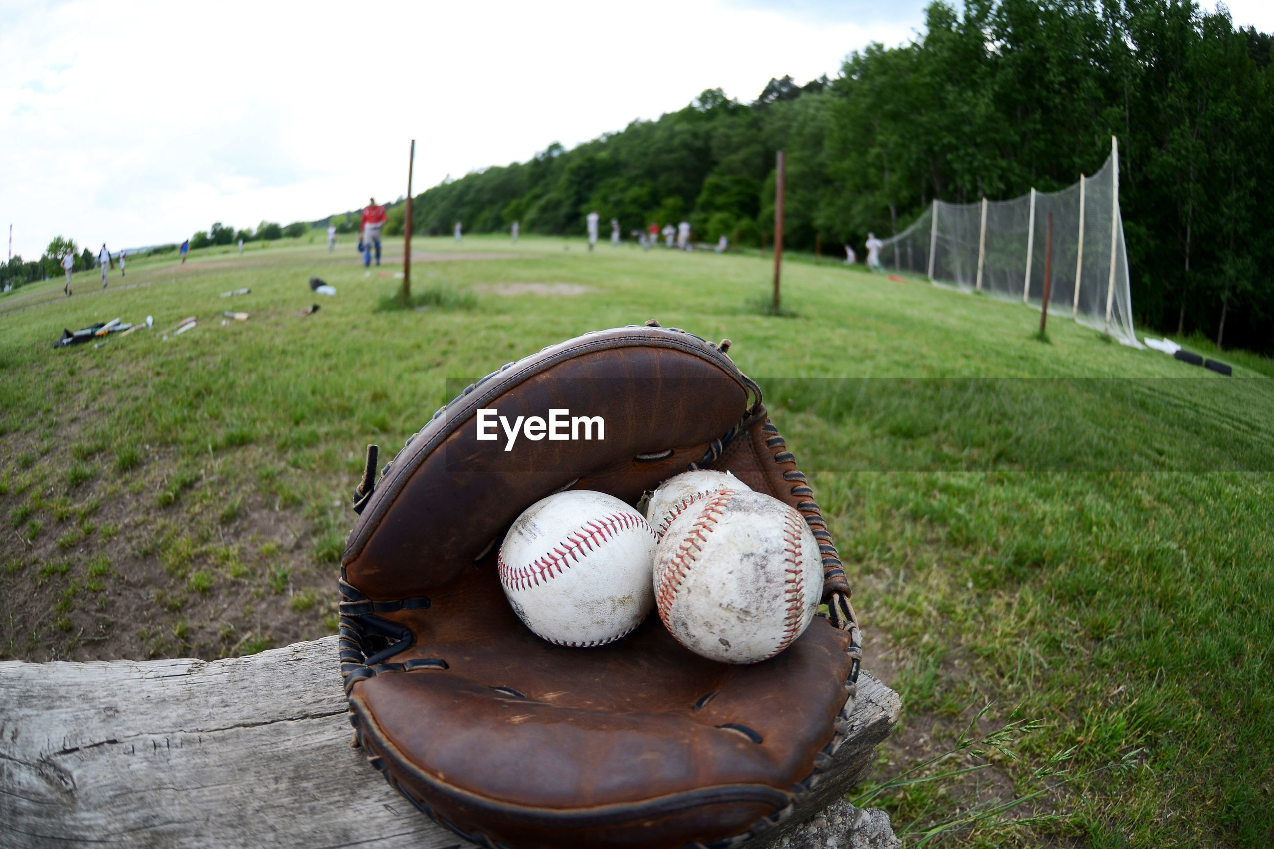 Close-up of baseball glove and ball on playing field
