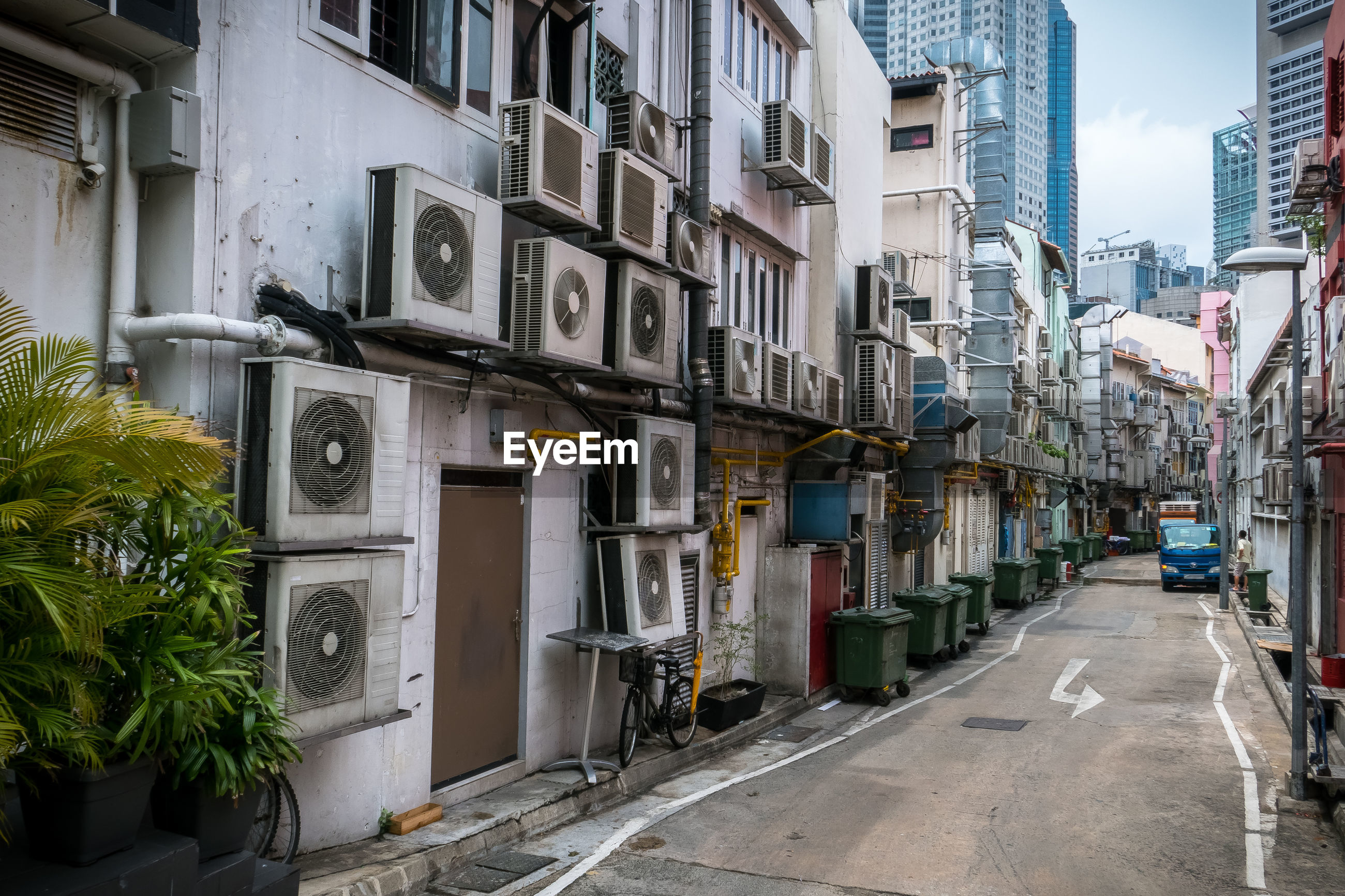 Street amidst residential building