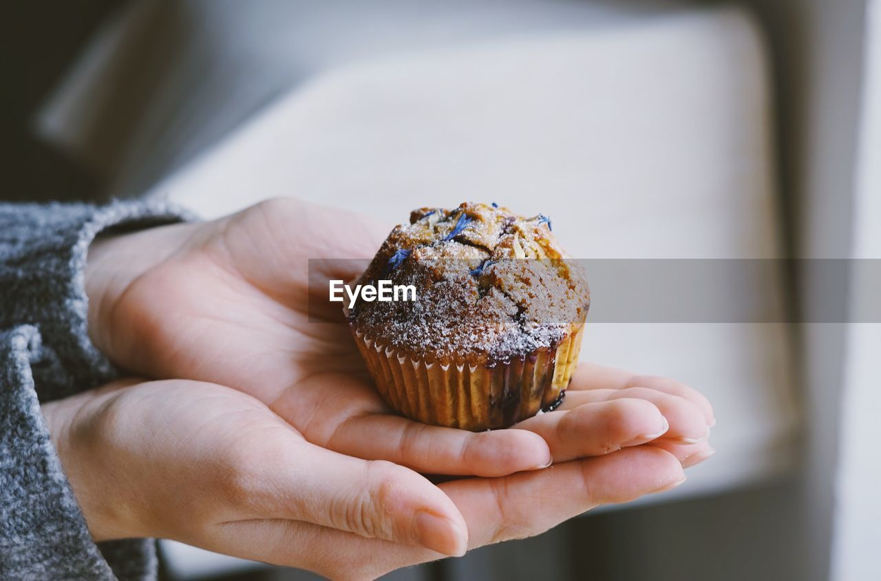 human hand, hand, one person, human body part, holding, food and drink, real people, food, unrecognizable person, indoors, body part, close-up, lifestyles, freshness, focus on foreground, sweet food, finger, indulgence, baked, temptation, muffin, human limb